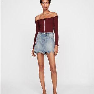 Floral Embroidered Distressed Denim Mini Skirt